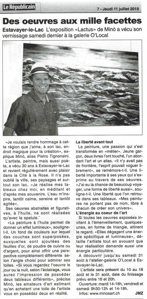 Lactus – Le Republicain zur Ausstellung in der Galerie O'Local