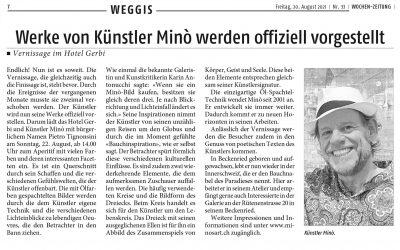 Werke von Künstler Minò werden offiziell vorgestellt – Wochen-Zeitung